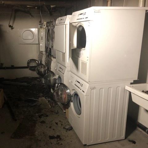 Brand in einer Waschküche