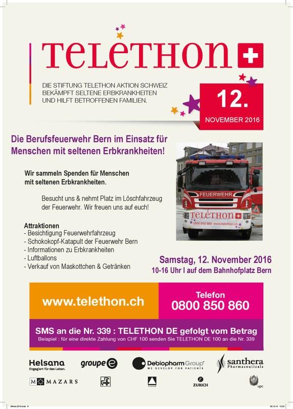 Flyer der Aktion Telethon zur Spendeaktion auf dem Bahnhofplatz