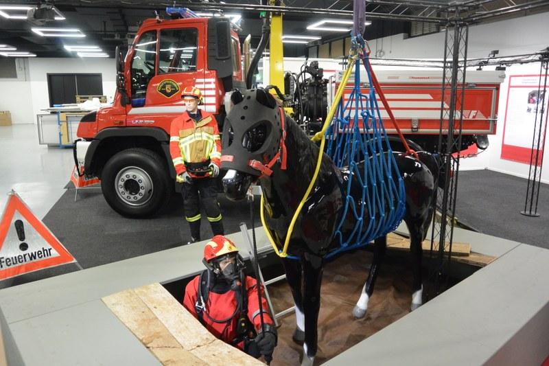 Ein Feuerwehrmann ist im vollschutzanzug in die Jauchegrube gestiegen und hat das Tierhebenetz am Pferd angebracht. Nun hebt der Kran das Pferd aus der Grube heraus.