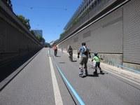 Unterwegs im autofreien Korridor kurz vor dem Eigerplatz