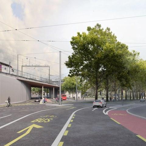 Bollwerk, Blick Richtung Reithalle/Lorrainebrücke: Bus und Velos können neu links direkt in die Neubrückstrasse abzweigen . Vergrösserte Ansicht