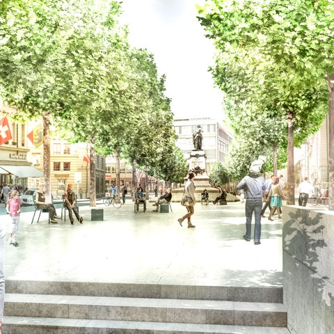 Nordansicht Hirschengraben, beim Aufgang der Personenpassage. Das Bubenbergdenkmal wird in die Mitte des Platzes verschoben