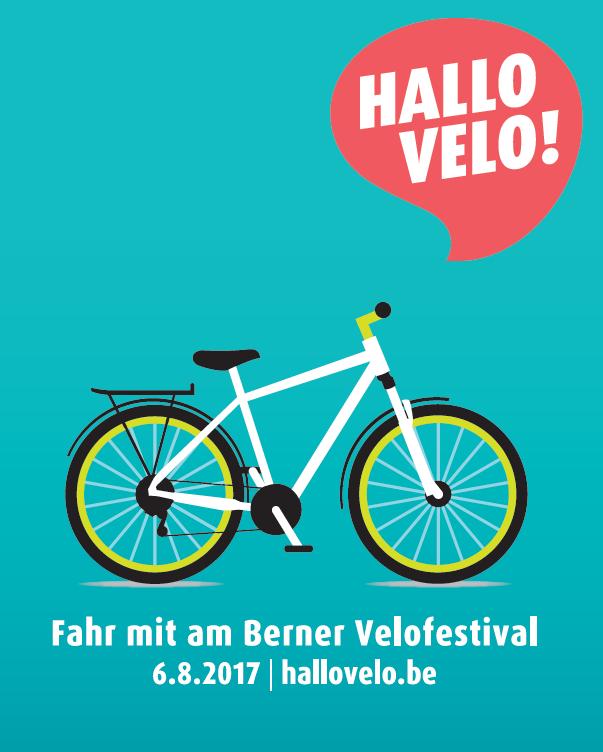 """Plakat des Veloanlasses """"Hallo Velo!"""" in Bern sowie dem Aare- und Gürbetal vom 6. August 2017."""