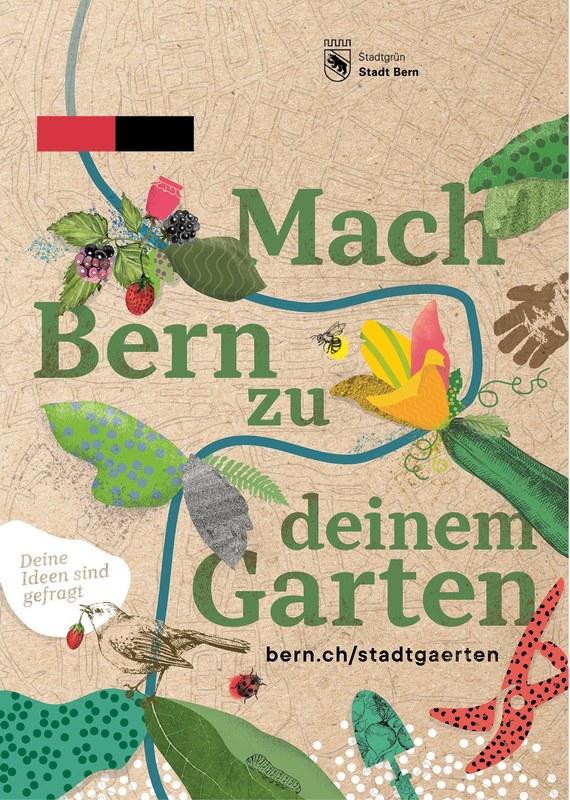"""Der Flyer zeigt den Schriftzug """"Mach Bern zu deinem Garten"""". Im Hintergrund schlängelt sich die Aareschlaufe durch ein Gemüsebeet."""