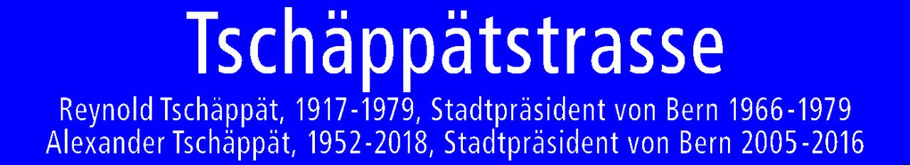 """Abbildung des Schildes mit der Aufschrift """"Tschäppätstrasse"""" sowie kleingedruckt den Namen der geehrten, deren Lebensdaten und deren Amtszeiten."""