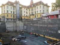 Doppelturnhalle Bitzius Baustelle Aushub, Bild: wbarchitekten