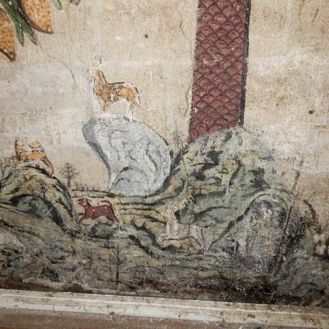Detail der Jagdszene Stammbaum (Bild Fischer Restauratoren Matthias Kilchhofer). Vergrösserte Ansicht