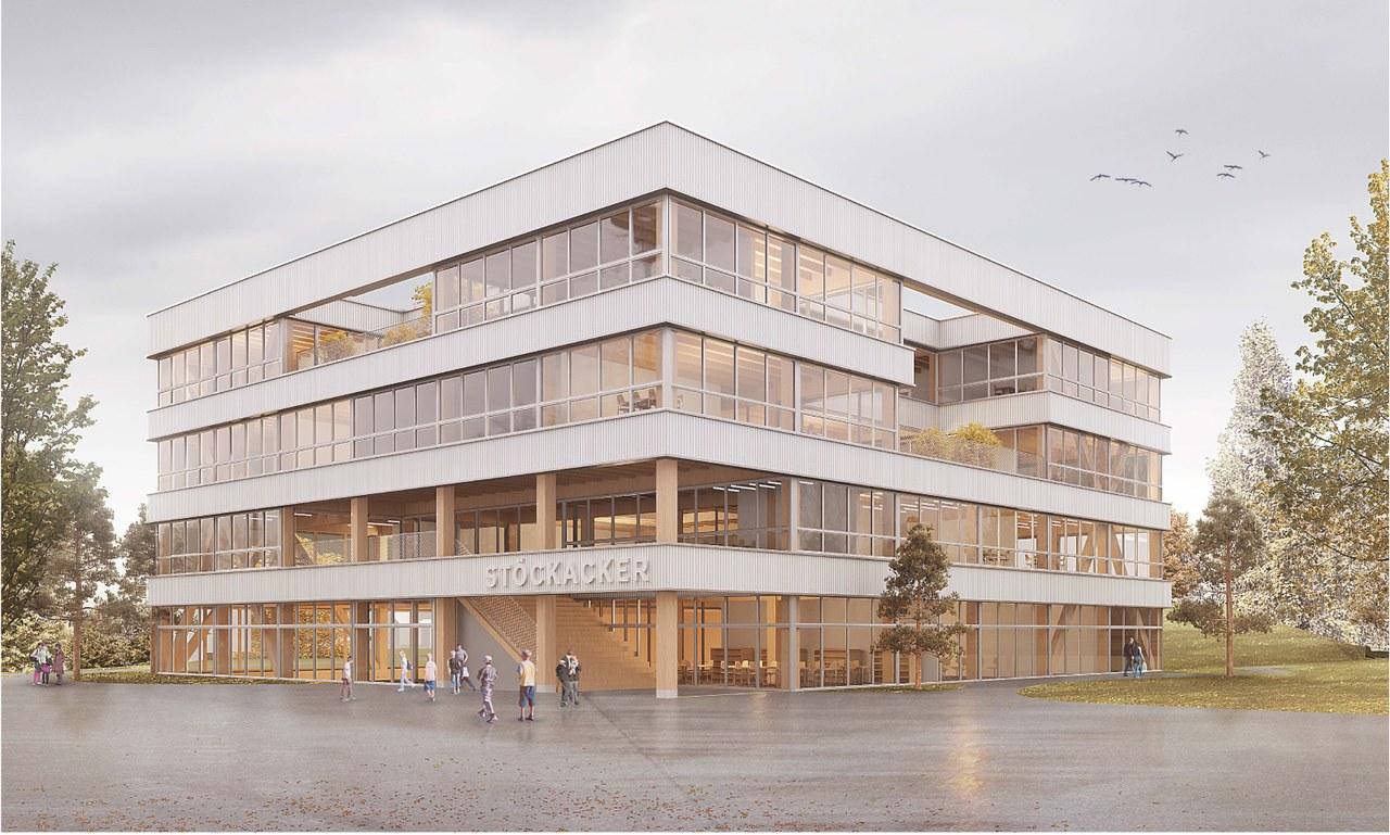 Aussenansicht Volksschule Stöckacker. Visualisierung: Schmid Ziörjen Architektenkollektiv.