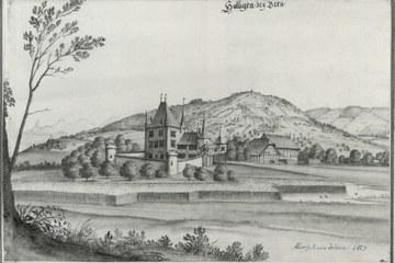 Aquarell von Albrecht Kauw 1669 Bild Denkmalpflege Stadt Bern. Vergrösserte Ansicht