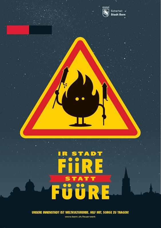 """Plakat Feuerwerk """"Ir Stadt fiire statt füüre"""" ."""