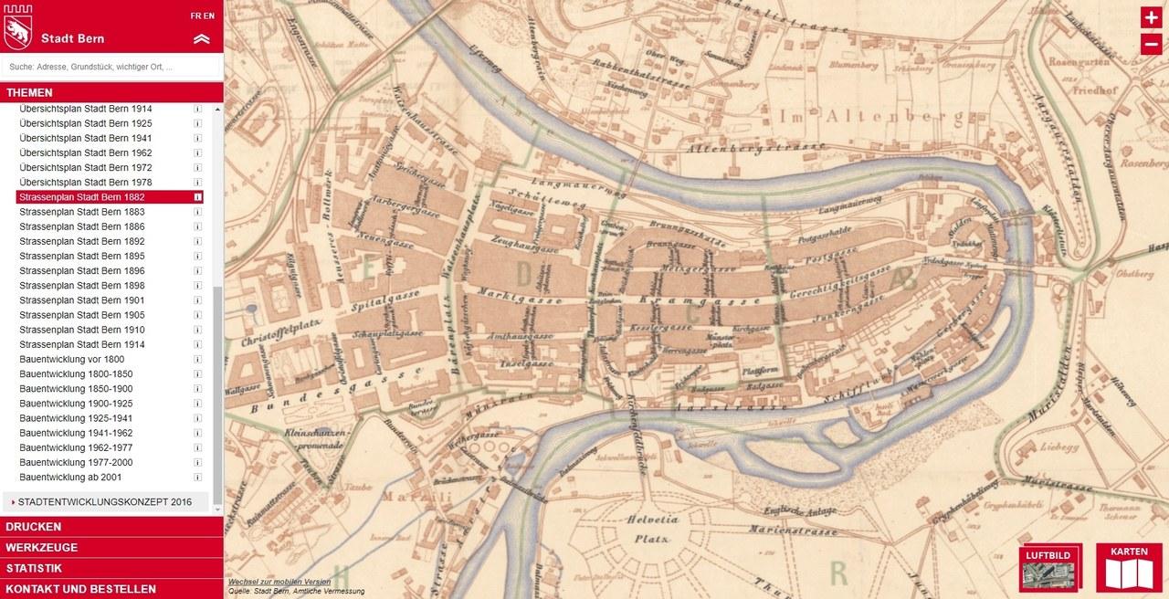 Eine Abbildung des Strassenplans von 1882.