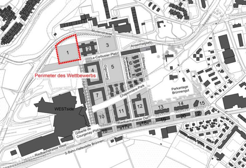 Bild: Perimeter Baufeld 1, Planungsgebiet Brünnen.