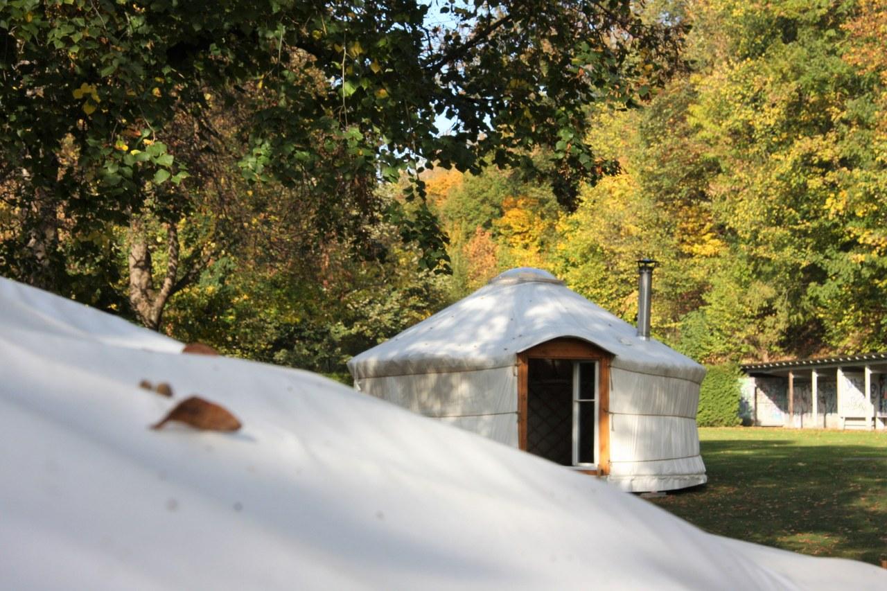Lorrainebad: Winterbelebung mit Saunajurten