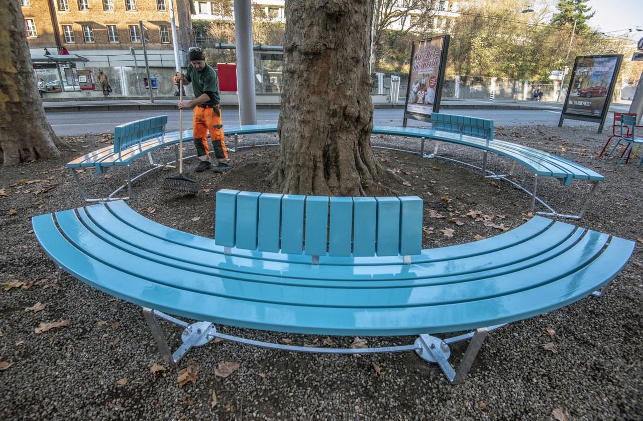 Neue Rundbank Loryplatz. Bild: Alexander Egger, im Auftrag des Tiefbauamts der Stadt Bern