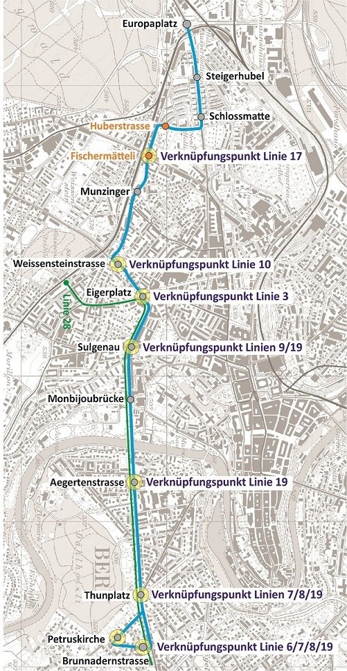Linienführung der neuen Tangentiallinie Bern-Süd