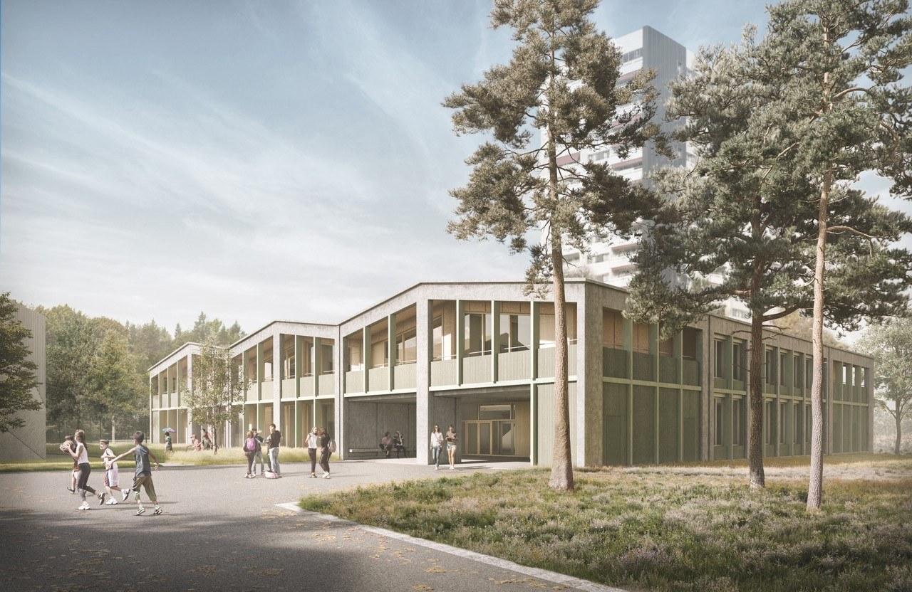 Visualisierung Aussenansicht Volksschule Bethelehmacker Meier Leder Architekten AG