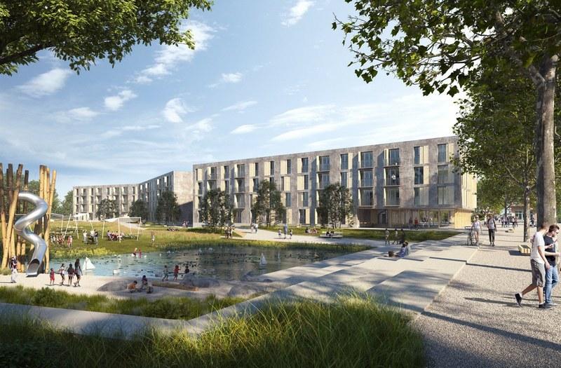 Visualisierung Wohnüberbauung Mutachstrasse und Stadtteilpark Holligen Nord