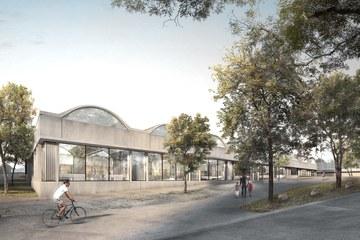 Aussenansicht der 50m-Schwimmhalle (Armon Semadeni Architekten / Visualisierung: nightnurse images, Zürich). Vergrösserte Ansicht