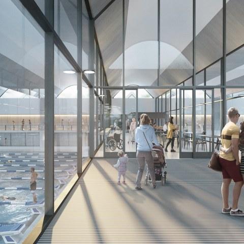Eingangsbereich der 50m-Schwimmhalle (Armon Semadeni Architekten / Visualisierung: nightnurse images, Zürich). Vergrösserte Ansicht
