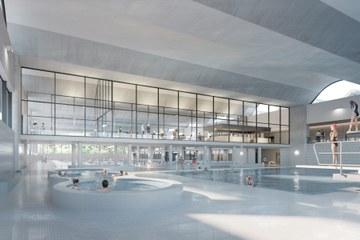 Innenansicht der 50m-Schwimmhalle (Armon Semadeni Architekten / Visualisierung: nightnurse images, Zürich). Vergrösserte Ansicht