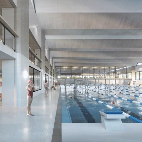 Aussenansicht der 50m-Schwimmhalle (Armon Semadeni Architekten / Visualisierung: nightnurse images, Zürich)