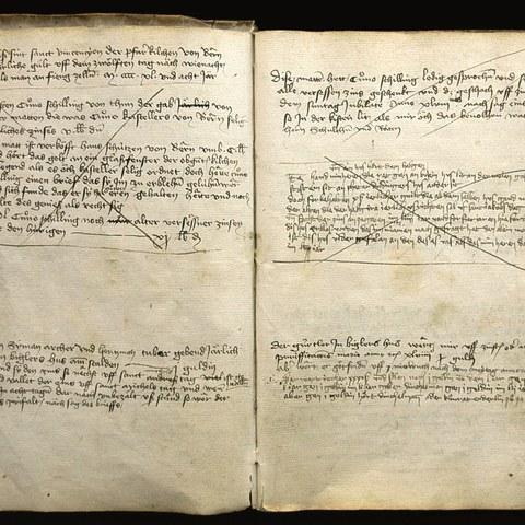 Bild St. Vinzenzenschuldbuch von 1448, fol. 1r (SAB A 4 1) (JPG, 1,8 MB). Vergrösserte Ansicht