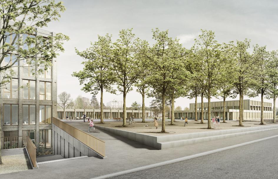 Visualisierung Volksschule Kleefeld Siegerprojekt «KLEE» von Kastkaeppeli Architekten GmbH. Visualisierung nightnurse images.