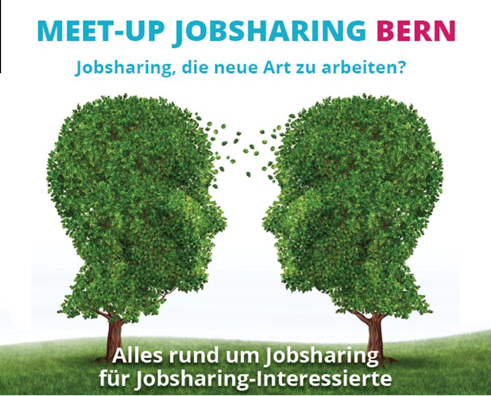 Flyer Meet-UP Jobsharing Titel und Bild von zwei Köpfen in Form von Bäumen