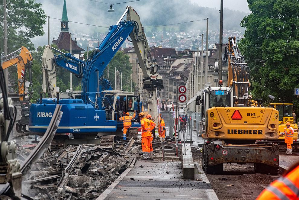 Bauarbeiten im Zusammenhang mit dem Projekt «Dr nöi Breitsch»; Foto Alexander Egger (2021), im Auftrag des Tiefbauamts der Stadt Bern