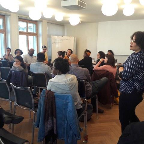 Schwarze Schweiz, Vernetzungsworkshop (Mohamed Wa Baile, Halua Pinto de Maglhães, Jovita Pinto). Vergrösserte Ansicht
