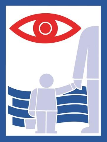 """Bild zeigt Person mit Kind an der Hand und das """"wachsame Auge""""."""