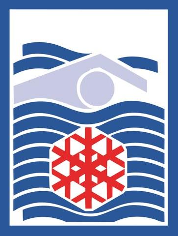 Bild zeigt eine schwimmende Person und ein Zeichen für kaltes Wasser.