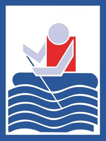 Bild zeigt eine Person im Schlauchboot. Die Person trägt eine Rettungsweste.