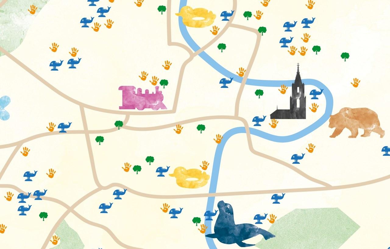 Skizze des Berner Stadtplans mit Spielorten