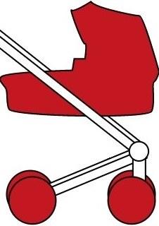Skizze eines Kinderwagens
