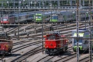 Züge beim Hauptbahnhof Bern