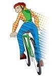 Zeichnung junge Velofahrerin
