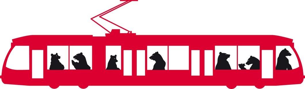 Zeichnung Bären im Tram