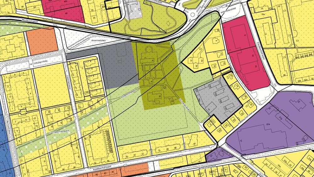 Ausschnitt Schwarzplan mit Nutzungszonen
