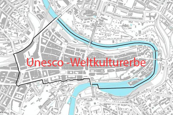 Darstellung des Unesco-Weltkulturerbe-Perimeters der Altstadt von Bern