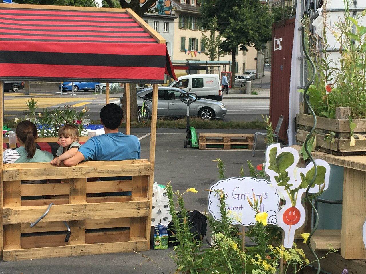 Sitzgelegenheit auf der Schützenmatte mit Pflanzen