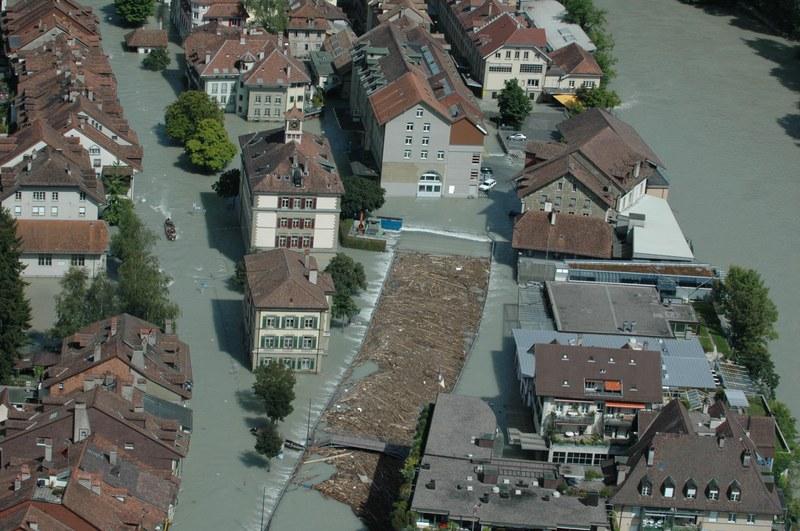 Hochwasser im Mattequartier in Bern
