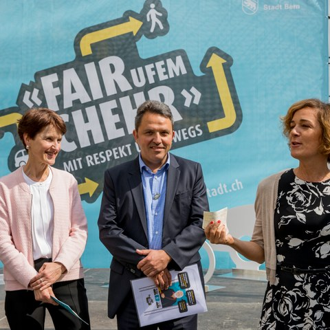 «FAIR ufem CHEHR»: Franziska Teuscher, René Schmied, Ursula Wyss (1). Vergrösserte Ansicht